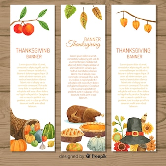 Happy thanksgiving watercolor banner set