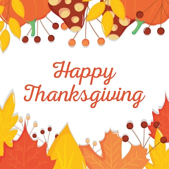 白い背景の上の装飾的な乾燥した葉のフレームで幸せな感謝祭