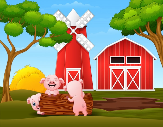 Happy three little pig playing logs in the farm