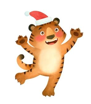 Счастливый тигр в шапке санты символ нового 2022 года