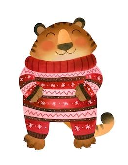 Счастливый тигр в зимней пижаме символ нового 2022 года