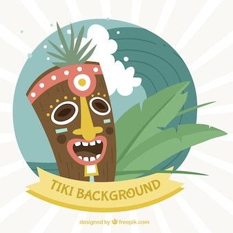 Happy tiki mask with palm leaves and wave