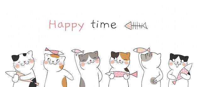 Happy time. draw cute cats holding fish.