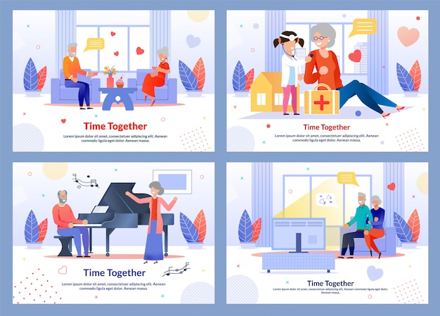 Happy time spending and mature people illustration set