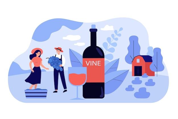 천연 와인 평면 그림을 생산하는 행복 한 작은 커플