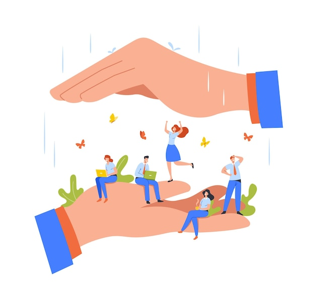Happy tiny employees sitting and working on huge boss hands. office characters under protection of leader, safety at work, relaxed atmosphere, benefits for staff. cartoon people vector illustration