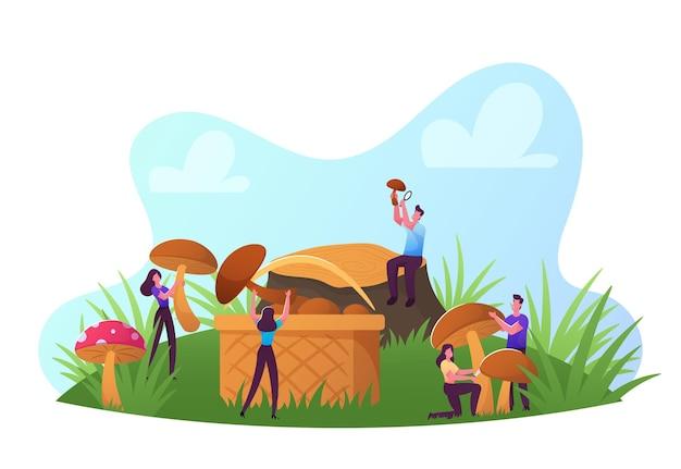 행복한 작은 남성과 여성 캐릭터는 가을 시즌에 야외에서 시간을 보내며 버섯을 집어 바구니에 담습니다. 만화 벡터 일러스트 레이 션