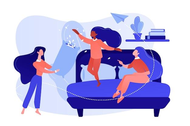 Felice gente minuscola adolescente femminile lotta con i cuscini in camera da letto al pigiama party. pigiama party, pigiama party di amici, concetto di festa di pigiama party. pinkish coral bluevector illustrazione isolata