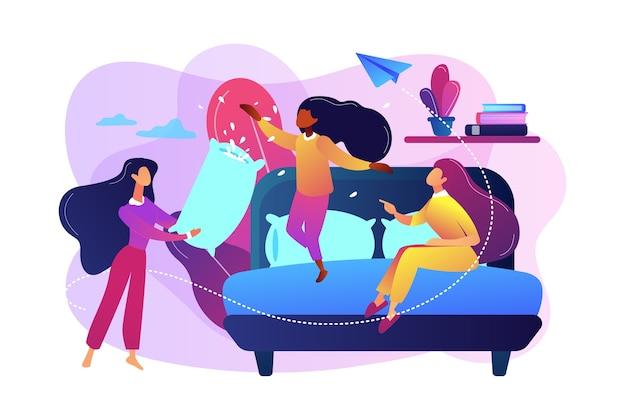 Счастливые крошечные люди девушки-подростки драка подушками в спальне на вечеринке. пижамная вечеринка, ночевка для друзей, концепция вечеринки по ночам.