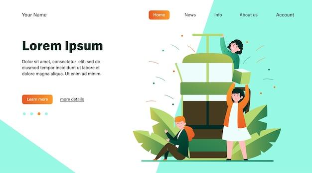 フレンチプレスでコーヒーを作る幸せな小さな人々。砂糖、朝、香りフラットベクトルイラスト。温かい飲み物とコーヒーブレークのコンセプトのウェブサイトのデザインや着陸のウェブページ