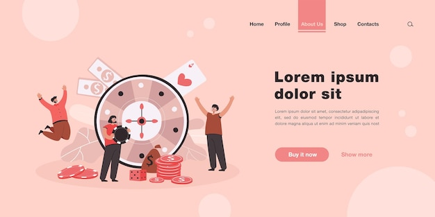 Happy tiny people playing casino roulette landing page in flat style