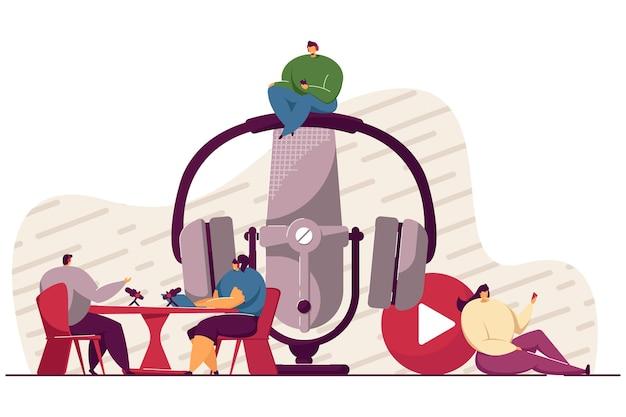 Happy tiny people sitting and listening radio podcast isolated illustration