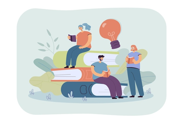 Happy tiny students reading books flat illustration