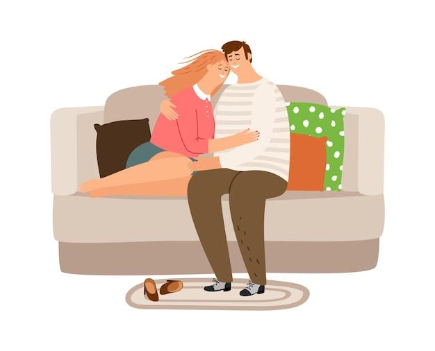 행복 한 피곤 된 커플. 남자 여자 집에서 소파에 긴장.
