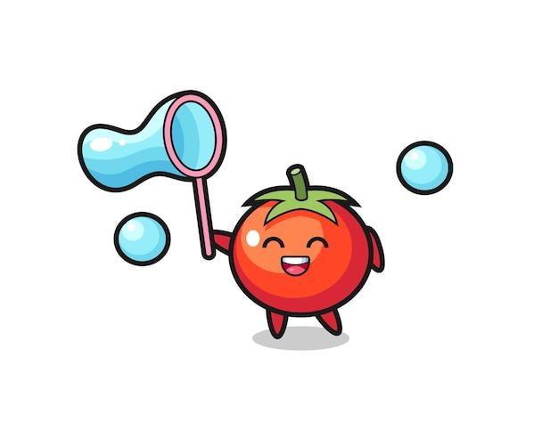 Мультфильм счастливые помидоры, играющий в мыльный пузырь, милый стиль дизайна для футболки, стикер, элемент логотипа