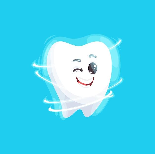 Happy tooth with perfect smile cartoon emoticon