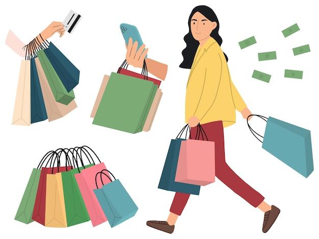 幸せなトングの女性は買い物に行きます。