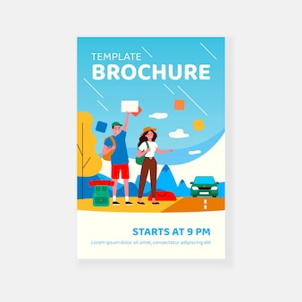 Happy tourist couple hitchhiking on road brochure template