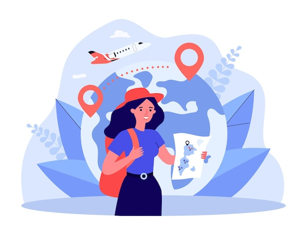 Happy tourist holding map in front of globe with location pins. woman with backpack, plane in background flat vector illustration. traveling, tourism concept for banner, website design or landing page