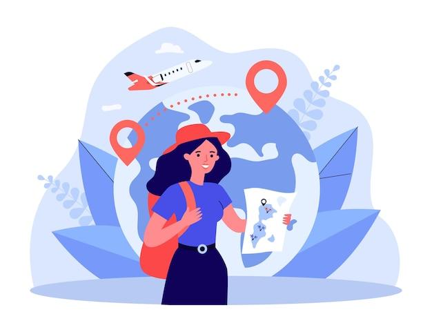 Счастливый турист, держа карту перед земным шаром с булавками местоположения. женщина с рюкзаком, самолет в фоновой плоской векторной иллюстрации. путешествия, концепция туризма для баннера, дизайна веб-сайта или целевой страницы