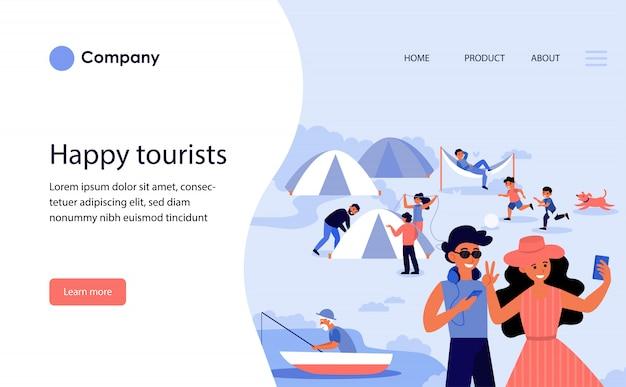 幸せな観光客のキャンプ。ウェブサイトテンプレートまたはランディングページ
