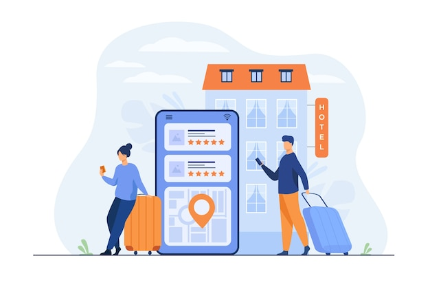 Happy tourists choosing hotel and booking room online flat illustration.