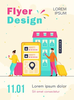Happy tourists choosing hotel and booking room online flyer template