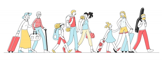 Happy tourists travelling in group   illustration