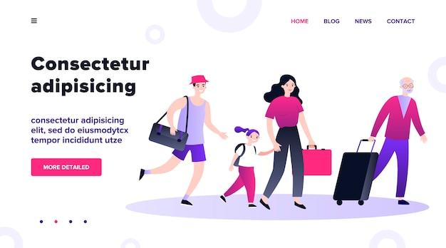 イラストを一緒に歩いてスーツケースで幸せな観光客。海外旅行する人々のグループ。空港から行くバッグと家族。旅行中の男性と女性。観光と旅のコンセプト