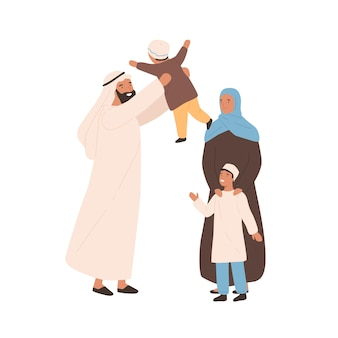 Happy traditional arabic family vector flat illustration. joyful muslim parents playing with little kid isolated on white. saudi young people in hijab outfit spending time together feeling love.