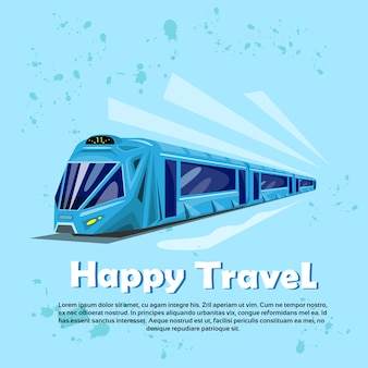 Happy travel banner modern train transportation tourism