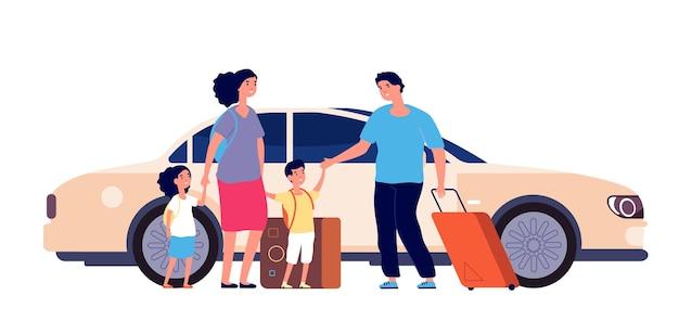 행복한 여행. 가족 수하물, 여름 행복한 여행.