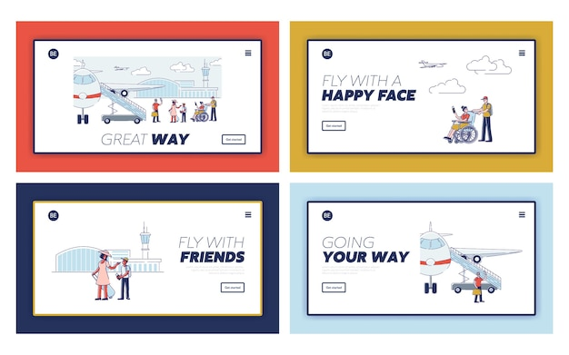 Happy travel landing pages with cartoon passengers before boarding planes and departure. cartoon travelers with passports and luggage