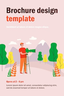 Happy travel photographer taking picture of mountain isolated flat  illustration. cartoon man standing and using dslr camera on tripod. photography of nature and landscape concept