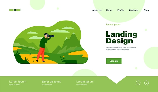 Happy travel photographer taking picture of nature landing page in flat style