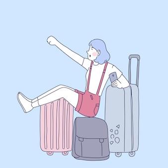 幸せな旅行者の女の子のイラスト