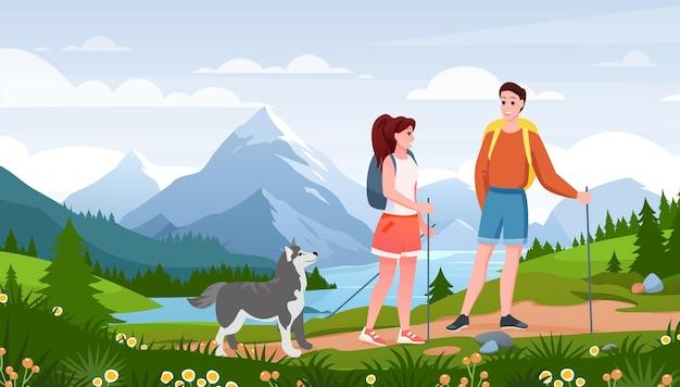 Happy traveler woman man couple and pet friend walk path