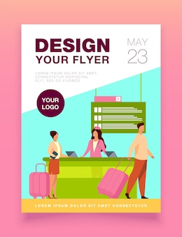 Happy travelers going through flight registration counter flyer template