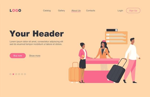 フライト登録カウンターを通過する幸せな旅行者。旅行、手荷物、荷物フラットランディングページ。バナー、ウェブサイトのデザイン、またはランディングウェブページの旅行と休暇のコンセプト