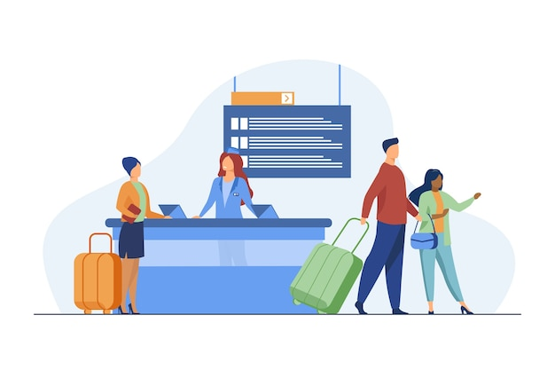 Happy travelers going through flight registration counter. trip, baggage, luggage flat vector illustration. travel and vacation