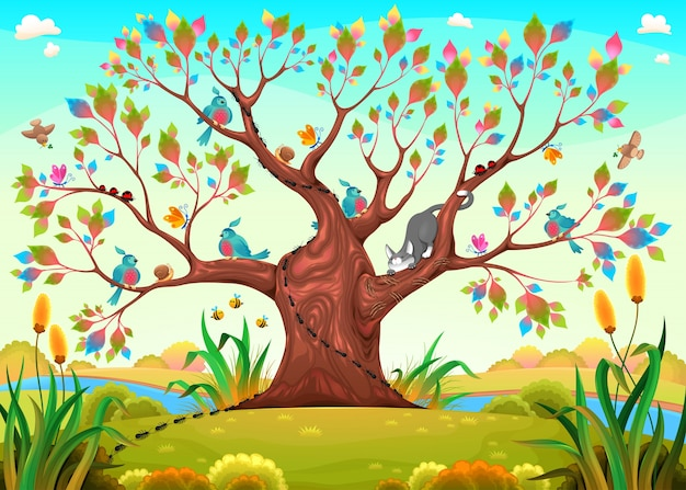 Happy tree with birds, insects and cat