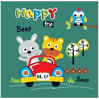 Happy trip rabbit and cat funny animal cartoon, vector illustration