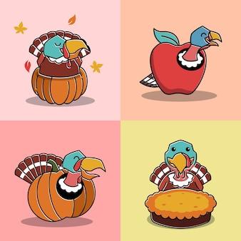Счастливая птица индейка внутри яблочного плода благодарения персонаж мультфильма