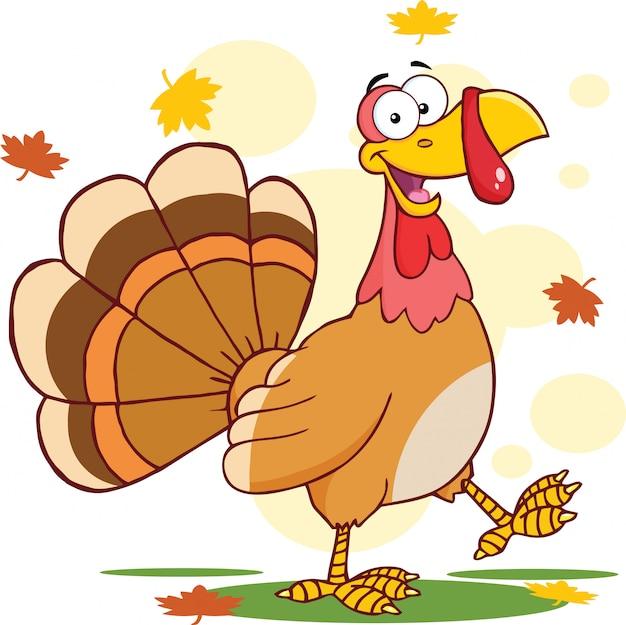 Happy turkey cartoon character walking.