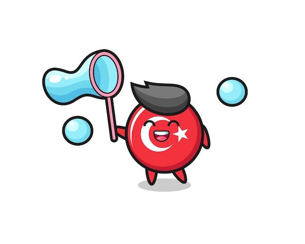 Счастливый значок флага турции, мультфильм, играющий в мыльный пузырь, милый стиль дизайна для футболки, наклейки, элемента логотипа