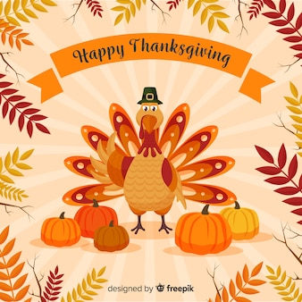Happy turkey thanksgiving day background