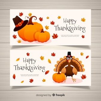 Happy turkey thanksgiving day banner set