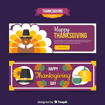 Happy turkey thanksgiving day banner set