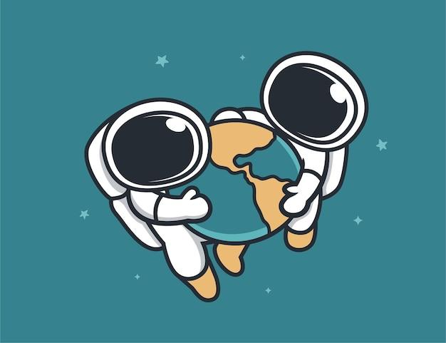 幸せな2人の宇宙飛行士と地球