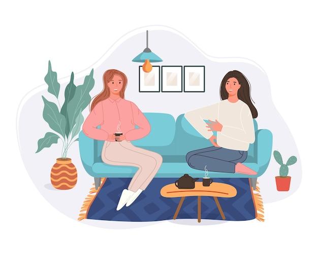 ソファに座ってコーヒーを飲みながら家で話している幸せな 2 人の女性。一緒に時間を過ごす笑顔のキャラクター。